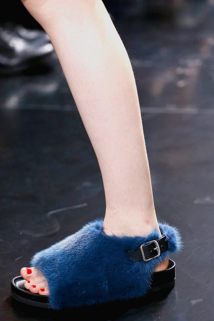 pels sko blå flade